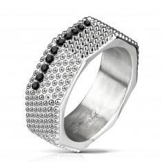 Čelični prsten - industrijski stil, masivni vijak s istaknutim dijelovima i crnim cirkonima
