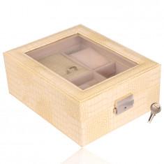 Pravokutna kutija za nakit u kremastoj boji - imitacija krokodilske kože, kopča, ključ