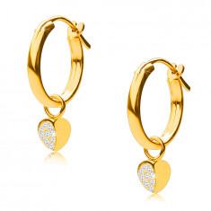 14K zlatne naušnice, obruči s privjeskom u obliku srca, francuska kopča, 12 mm
