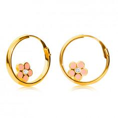 14K zlatne okrugle naušnice, ružičasti cvijet, sjajna površina, 12 mm