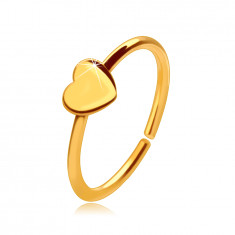 14K zlatni pericing za nos, sjajni prsten s malim srcem, 8 mm