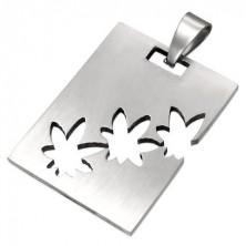 Privjesak od nehrđajućeg čelika srebrne boje, duguljasta pločica sa urezanom marihuanom