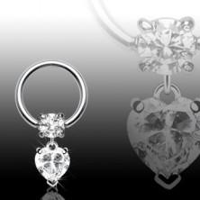 Prsten za tijelo sa srcem i cirkonom