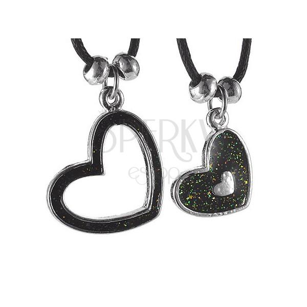Ogrlica za parove - srca na uzicama