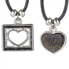 Ogrlica s dva srca - puno srce i srce u kvadratu