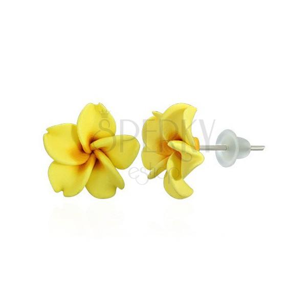 Cvijet plumerije - žute Fimo naušnice