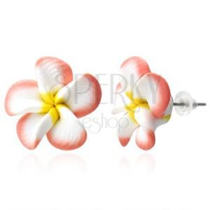 Naušnice FIMO - ružičaste i bijele latice, cvijet plumerija