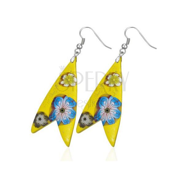 Naušnice Fimo - žuti trokut, oblik ribe, cvjetovi