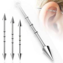 Industrijski piercing za uši s tri obruča i šiljastim vrhovima