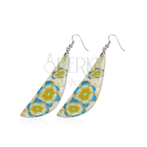 FIMO naušnice - bijela i žuta kapljica, plavo cvijeće