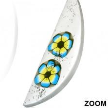 Naušnice od FIMO materijala - bijela suza, dva cvijeta u boji, šljokice