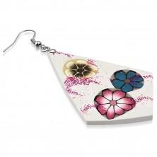 Naušnice od FIMO materijala - bijeli rombovi, tri raznobojna cvijeta