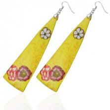 FIMO naušnice - žuti trokuti, cvjetovi
