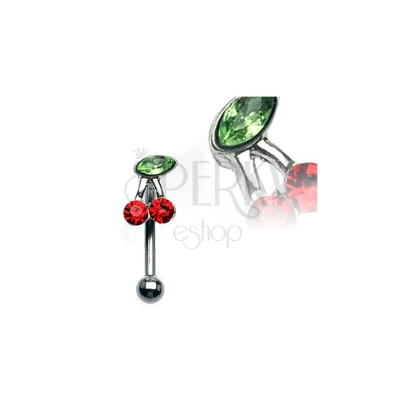 Prsten za obrve - trešnja s zelenim i crvenim cirkonima