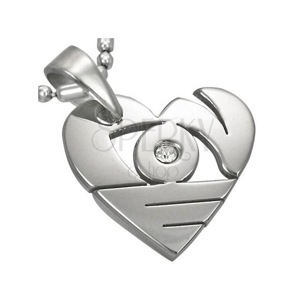 Privjesak od nehrđajućeg čelika srebrne boje, sjajno srce sa prorezima i cirkonom