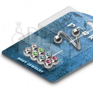 Uvijeni piercing za obrve - perla s cirkonom - set