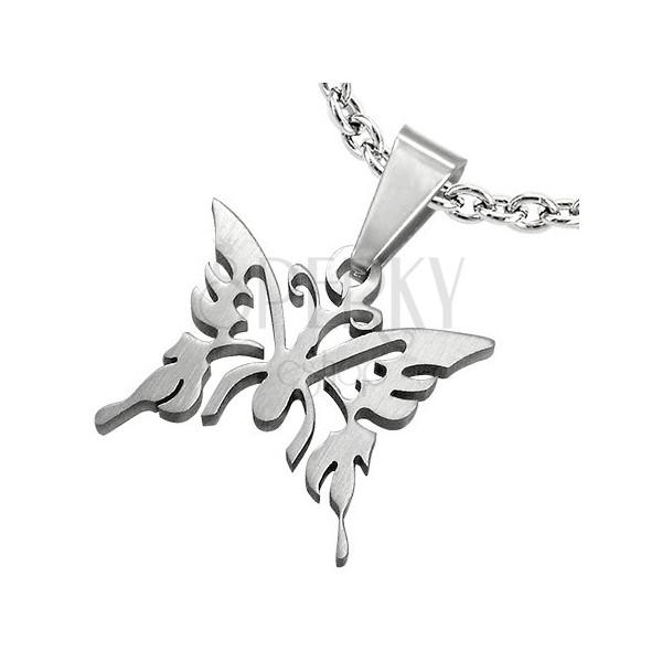 Privjesak od nehrđajućeg čelika, sjajni urezani leptir, srebrna boja