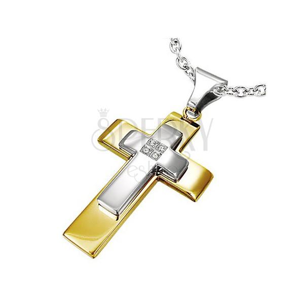 Čelični privjesak - dvobojni dvostruki križ, ugrađeni prozirni cirkoni