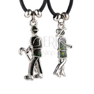 Ogrlica za parove - dama i gospodin s kišobranom