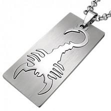Privjesak od nehrđajućeg čelika, pravokutnik, motiv - škorpion