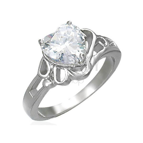 Ženski svjetlucavi čelični prsten, veliko prozirno cirkonsko srce