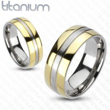 Prsten od titana - zlatna i srebrna kombinacija boja