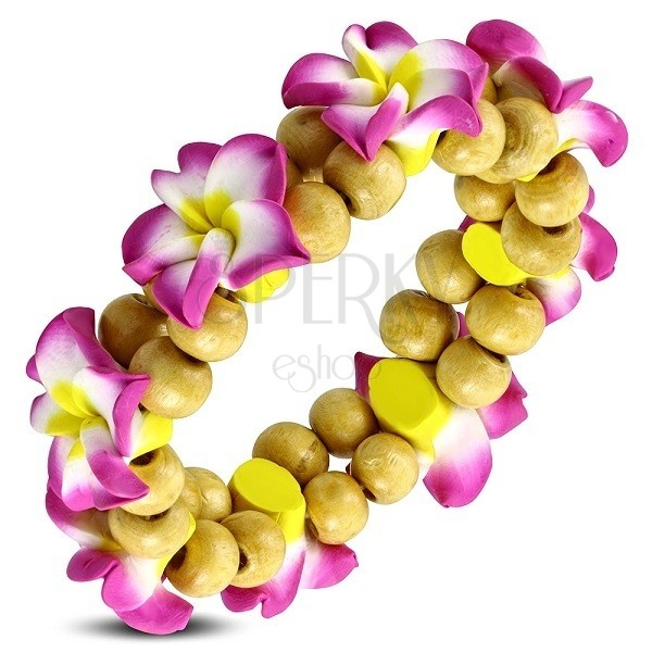 Stretch Fimo bracelet - pink flowers and beads