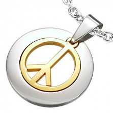 Privjesak od nehrđajućeg čelika sa simbolom mira zlatne boje