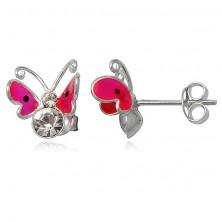 Naušnice od sterling srebra - ružičasti leteći leptir, dva cirkona