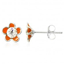 Naušnice od 925 srebra - narančasti emajlirani cvijet s cirkonom