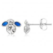 Naušnice od 925 srebra - mala plava mušica s cirkonom