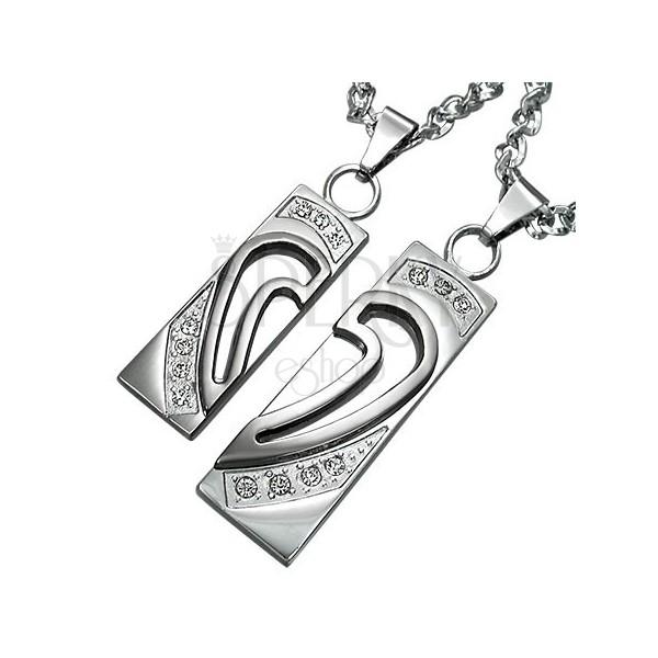 Privjesci od nehrđajućeg čelika, srce podijeljeno u dvije polovice sa cirkonima