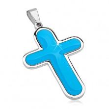 Privjesak od nehrđajućeg čelika, veliki križ sa unutarnjim dijelom sa plavom glazurom