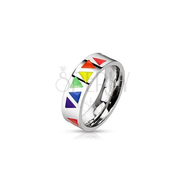 Prsten od nehrđajućeg čelika s raznobojnim trokutima na srebrnoj površini