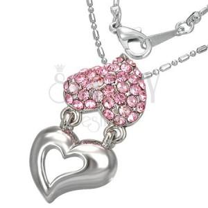 Ogrlica - metalno i srce s ružičastim cirkonima