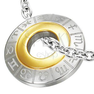 Privjesak od nehrđajućeg čelika sa znakovima zodijaka, srebrna i zlatna boja