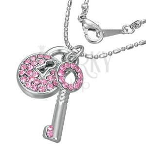 Ogrlica - lokot s ključem optočen cirkonima