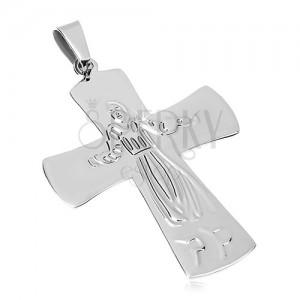 Privjesak od nehrđajućeg čelika, Isus na križu, srebrna boja