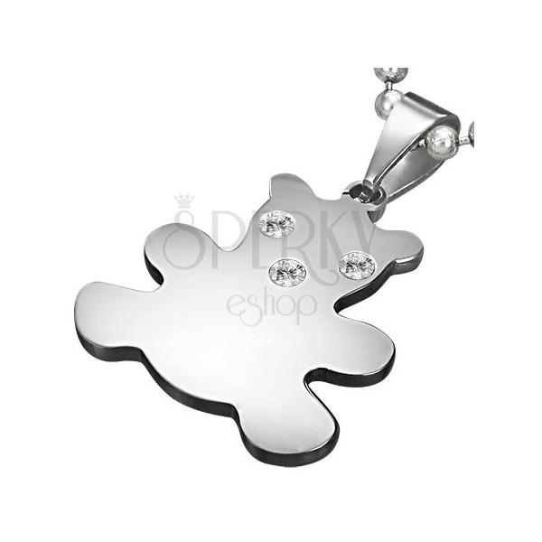 Privjesak od nehrđajućeg čelika srebrne boje, medvjed sa cirkonima