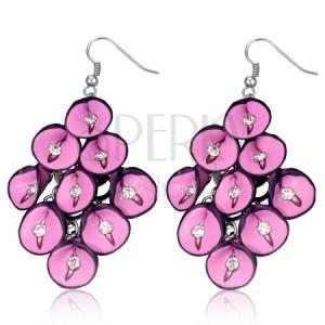Naušnice FIMO - ružičasti anturij sa cirkonima u grozdovima