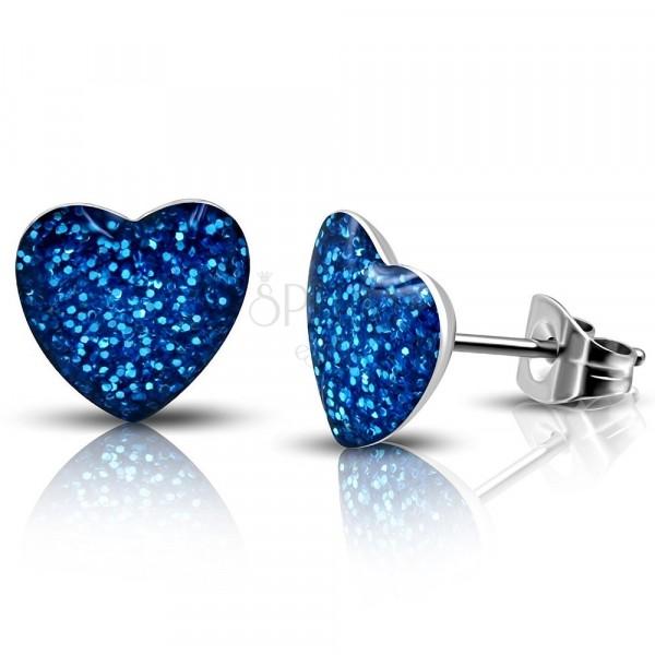 Naušnice od nehrđajućeg čelika - blistavo plavo srce