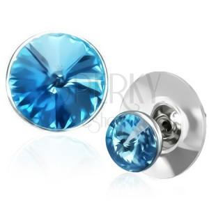 Bakrene naušnice - plavi Swarovski kristal u okviru srebrne boje